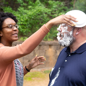 Having fun and pie in the face!